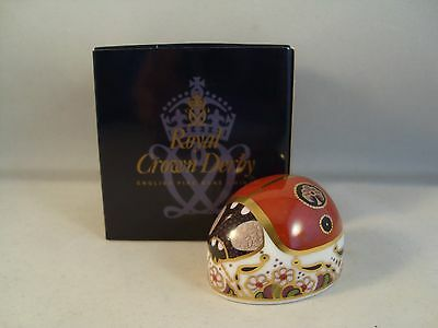 Royal Crown Derby Two Spot Ladybird Paperweight 1st Quality Boxed