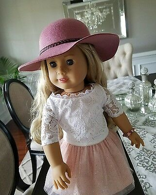 American Girl Tenney Grant HAT Accessories Pink Braided Trim Accessory & Box NEW