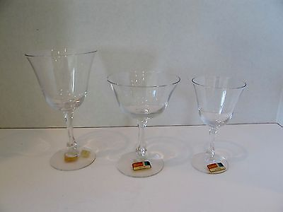 Fostoria PETITE Crystal Water, Wine, and Champagne/Sherbet Glasses
