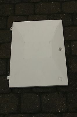 COMPLETE - WHITE INSET/CAVITY ELECTRIC METER BOX DOOR with Key, Latch, Hinges