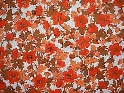 Lovely unused vintage 60's 70's orange floral cotton dress fabric, 1M lengths