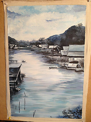 Thai Artist Hand Painted Original Acrylic Canvas Painting 40x60 cms unframed