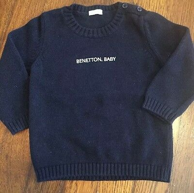 Benetton Baby Black Sweater Long Sleeve Boy size 6 9-12 months CUTE!