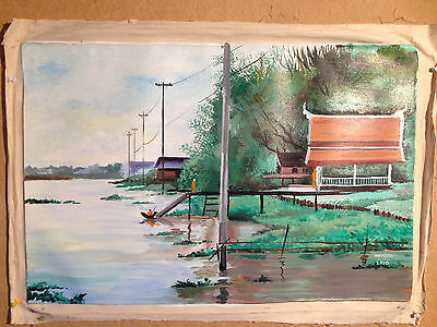 Thai Artist Hand Painted Original Acrylic Canvas Painting 60x40 cms unframed