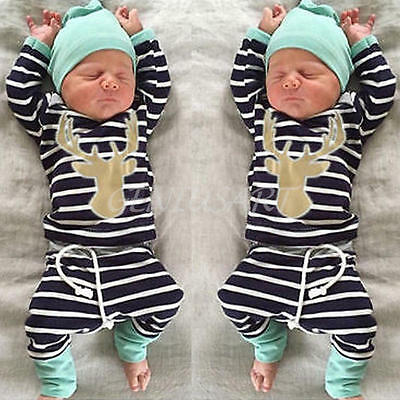 3PCS Newborn Baby Boy Girl Outfit Clothes T-Shirt Tops+Pants Trousers+Hats 3-6M