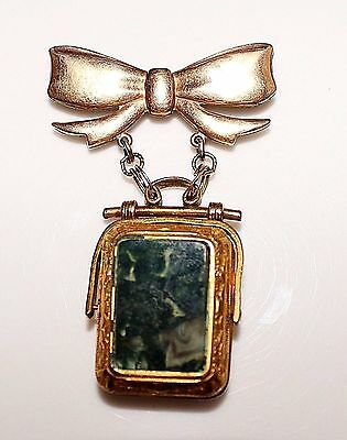 Antique Victorian Gold Filled Moss Agate & Carnelian Swivel Fob Locket