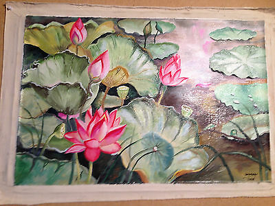Thai Artist Hand Painted Original Oil Canvas Painting 60x40 cms unframed