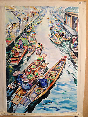 Thai Artist Hand Painted Original Oil Canvas Painting 40x60 cms unframed