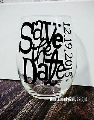 SAVE THE DATE- Stemless wine glasses