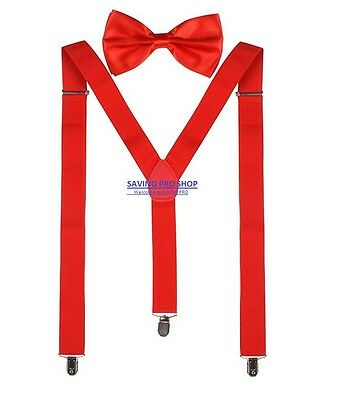SUSPENDERS and BOW TIE COMBO SET-Tuxedo Classic Wedding Costume Tux Prom Red