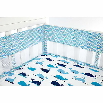 Nautica Kids Whale of a Tale Secure-Me Mesh Crib Liner in Light Blue