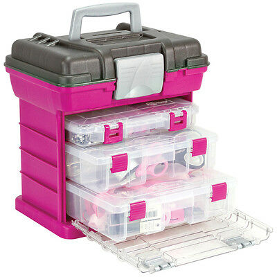 Crafts Tool Box Pink Magenta Girls 3 Clear Boxes Organizer Divider Sewing Travel