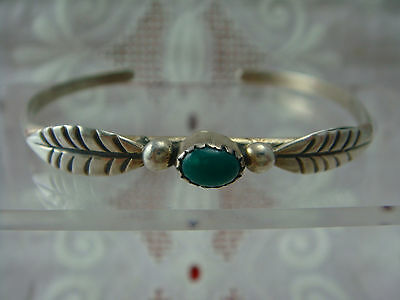 """Vtg Nellie Pino Turquoise Feather Beaded Navajo Sterling Silver 6"""" Cuff Bracelet"""