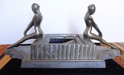 Unique & Rare Art Deco Frankart Cube Girls Lady Nude Lamp L254 Signed/stamped