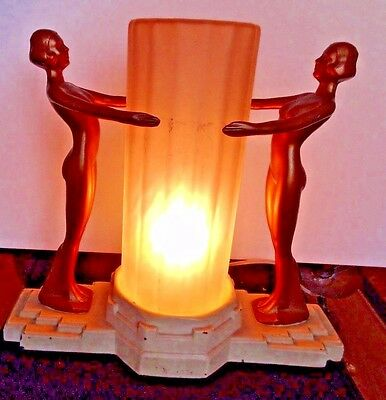 Unique & Rare Art Deco Nuart Creations Nude Lady Pair Lamp W Frosted Tube Glass