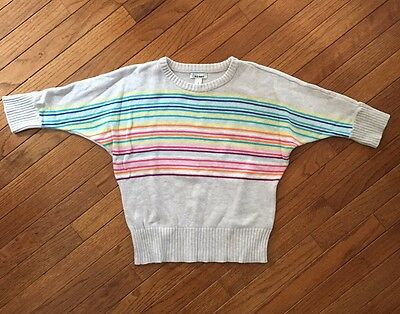 Old Navy ~ Girl's Light Gray Multi Striped Sweater ~ Size Large