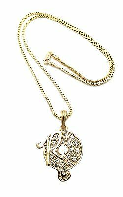 """Men Hip Hop Iced Out Rocafella Micro Pendant w/ 24"""" Box Chain Necklace DS002G"""
