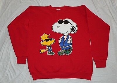 Vintage Snoopy Woodstock Joe Cool Sweatshirt Peanuts Red Sz LARGE Glitter