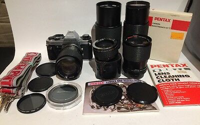 Pentax Super Program 35mm Camera SLR Film Body and Lenses Lot Photography Outfit