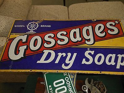 Vintage Porcelain Enamel Original Advertising Gossages Dry Soap