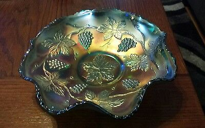 Fenton Carnival Glass Grape and Cable Dish Bowl