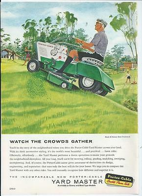 1959 Porter Cable Yard Master Vintage Lawn Mower / Tractor Print Ad