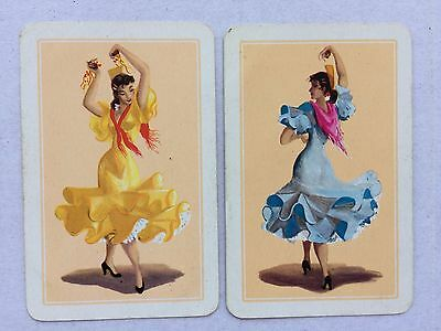 Vintage Swap / Playing Card Pair - Spanish Ladies Dancing