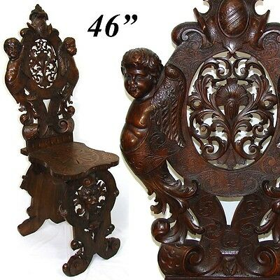 Superb Antique Italian Renaissance Carved Hall Chair, Winged Cherubs, Mascaron