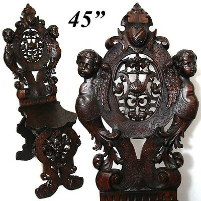 Antique Italian Renaissance Carved Hall Chair, Winged Cherubs, Acanthus Mascaron