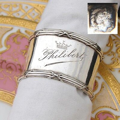 """Elegant Antique French Sterling Silver 2"""" Napkin Ring, """"Philibert"""" with CROWN"""