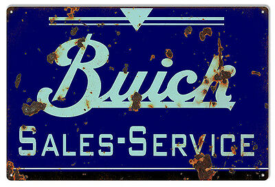 Reproduction Blue Buick Sales And Service Gas Station Sign 12X18
