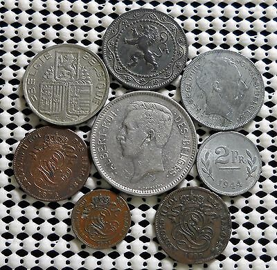 An Assortment Of Eight Old Coins From Belgium