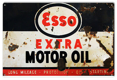 """Reproduction Esso Extra Motor Oil Gas Station Sign 12""""x18"""""""