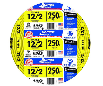 Romex 250 ft.12/2 Solid NM-B Indoor Copper Ground Electrical Wire, Jacket