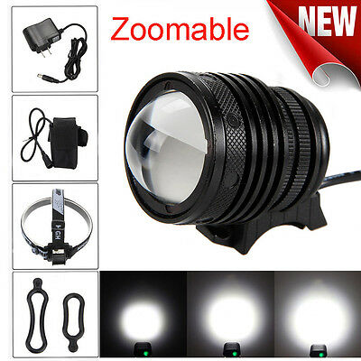 Zoomable T6 LED 5000 Lm Bicycle bike Head Light Headlamp Rechargeable Head Torch