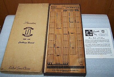 Vintage 1969 Pleasantime Once Around Three Lane Cribbage Board #720
