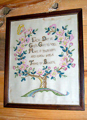 "SAMPLER, ANTIQUE, FRAMED 13"" x 15"", TREE OF LIFE, CREWEL EMBROIDERY"