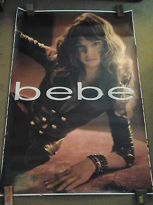 Art / bebe / Model, 6' ft Poster, Brown Leather Jacket w/ Brass Buttons.