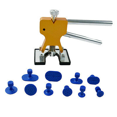 PDR Tool Dent Lifter Golden Set with Blue Puller Tabs Paintless Dent Repair Tool