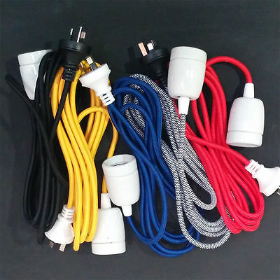 3 metre Fabric Light Cord with Ceramic Socket