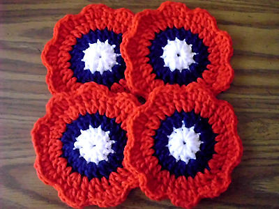New Hand Made Crochet Coasters / DOLL HOUSE RUGS Set of 4 Listing # C003