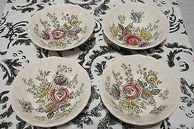 """LOT of FOUR 6 1/4"""" Coupe Round Cereal Bowls, Johnson Bros. SHERATON   MINT!"""