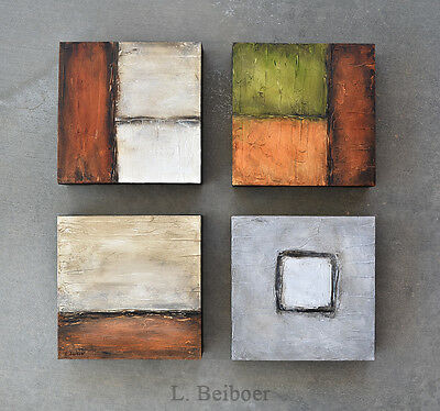 LARGE ORIGINAL ABSTRACT ART 4 PANEL TEXTURED MODERN OIL PAINTING ~~ L. Beiboer