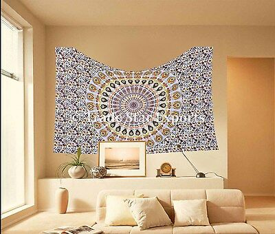 Indian Mandala Tapestry Twin Bohemian Bedspread Throw Decor Hippie Wall Hanging