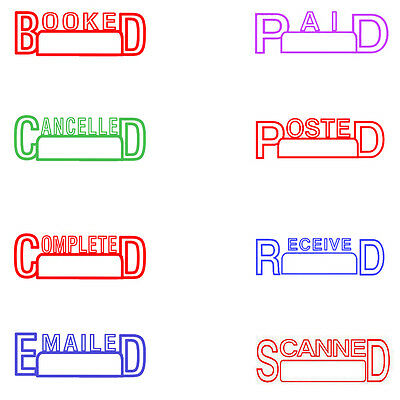 """Booked"" or Personalised Text Name Signature  Rubber Flash Stamp Self Inking"