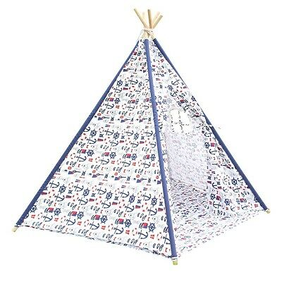 5 Poles Teepee Tent w/ Storage Bag White Green