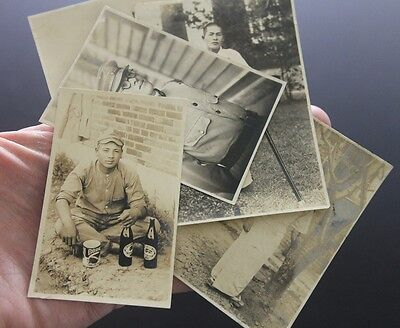 WW2 Japanese photo lot Army Infantry beer hospital wounded uniform