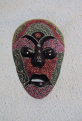 OE210     4  Vintage Carved Wood  Dotted Lombok Indonesian Mask