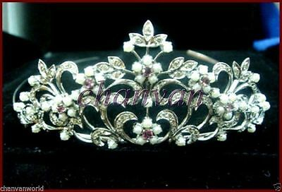 Antique INS 4.10Ct Rose Cut Diamond 925 Silver Pearl Wedding Tiara Hair Jewelry