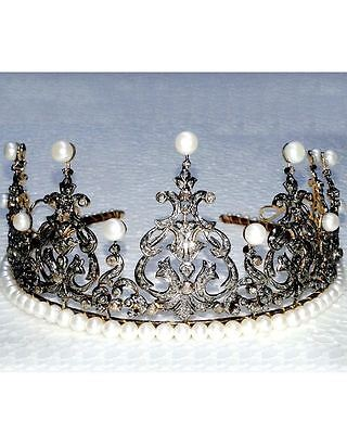 Antique Vintage Look 15.16Ct Rose Cut Diamond Sterling Silver Tiara Crown   @CVW